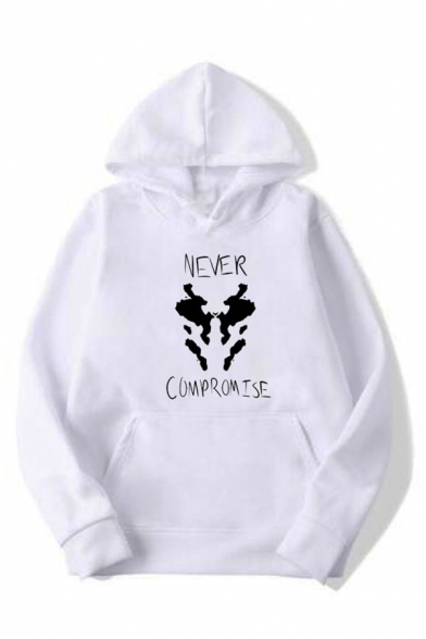 Trendy Letter Watchwmen Smile Face Graphic Long Sleeve Pouch Pocket Loose Hoodie