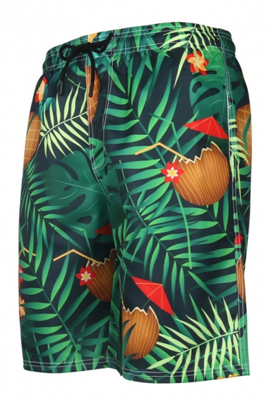 Tropical Style Men's Shorts Floral Coconut Umbrella Leaf 3D Printed Pockets Drawstring Waist Knee-length Straight Fit Relaxed T-Shirt