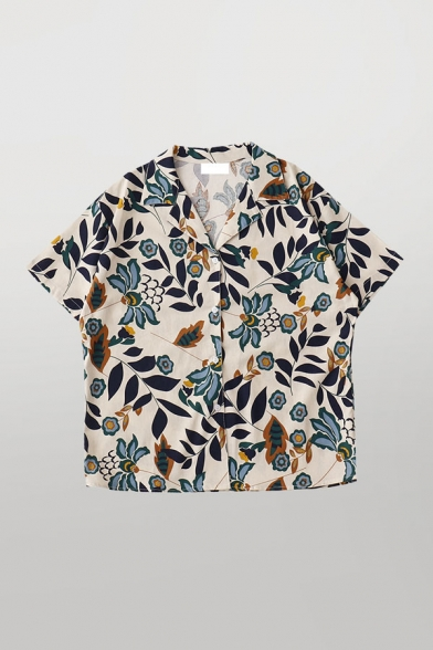Vintage Womens Floral Leaves Printed Button Down Lapel Collar Short Sleeve Loose Fit Shirt in Apricot