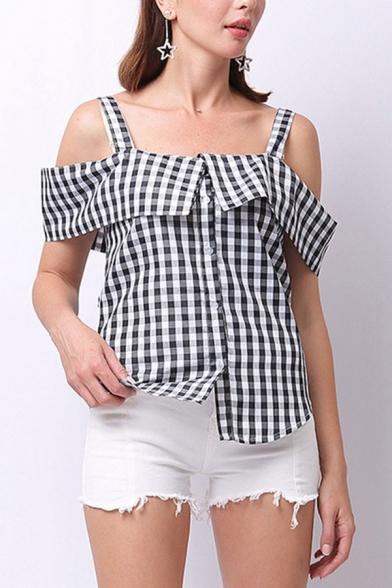 Vintage Womens Plaid Printed Button up Cold Shoulder Short Sleeve Regular Fit Shirt