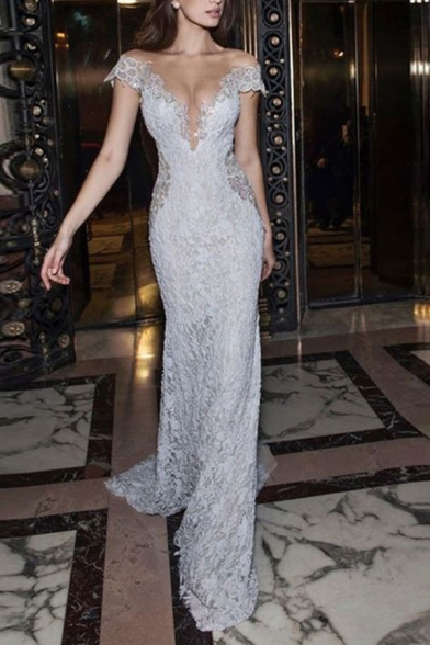 White Sexy Womens Plain Hollow Out Lace Deep V Neck Floor Length Bodycon Gown Backless Dress with Sleeves