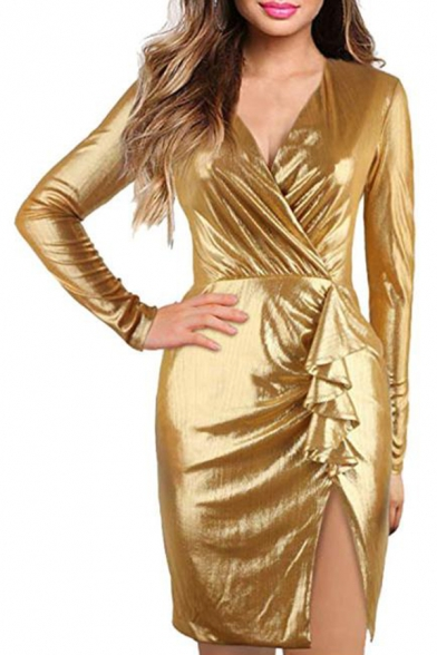 Womens Sexy Silk Gold Surplice V-Neck Long Sleeve Tied Waist Mini Sheath Wrap Dress