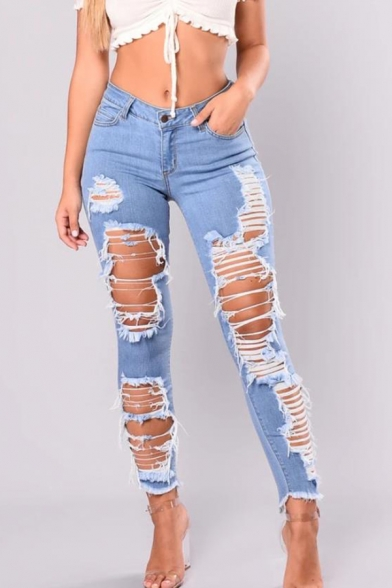 Womens Trendy Cool Street Fashion Distressed Ripped Raw Hem Blue Slim Fit Jeans