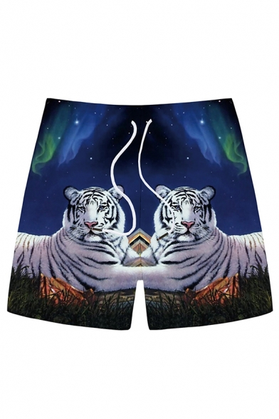 Chic 3D Relax Shorts Animal Tiger Galaxy Pattern Drawstring Pocket Straight Fit Mid Rise Mid Thigh Relax Shorts for Men