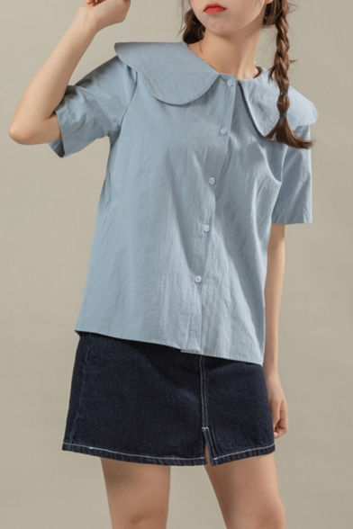 Cute Girls Solid Color Short Sleeve Peter Pan Collar Button-up Relaxed Fit Shirt Top