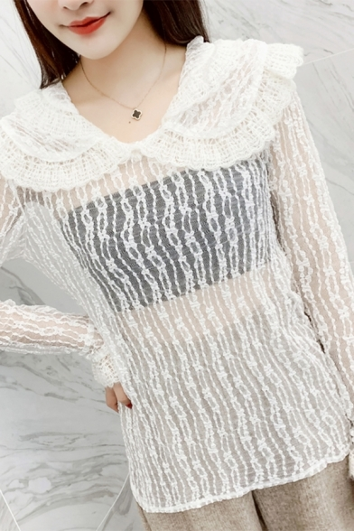 Girls Cute Double Layer Peter Pan Collar Long Sleeve Loose Fit Sheer Lace Blouse