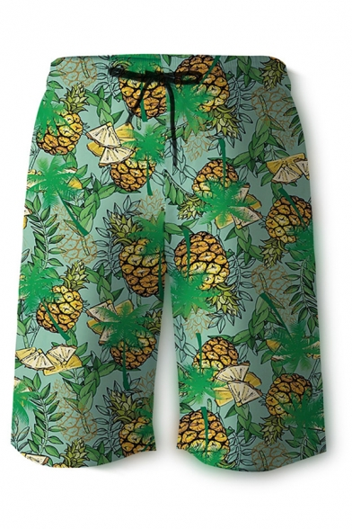 Mens 3D Cool Relax Shorts Fruit Pineapple Lemon Leaf Pattern Drawstring Mid Waist Knee-length Straight Fit Relax Shorts with Pocket