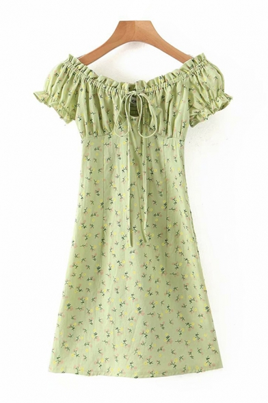 Pretty Ditsy Floral Printed Short Sleeve Off the Shoulder Tied Pintuck Mini Sheath Dress in Green