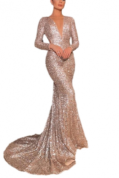 Sexy Womens Sequin Embellished Deep V Neck Long Sleeve Floor Length Sheath Gown Backless Dress in Silver