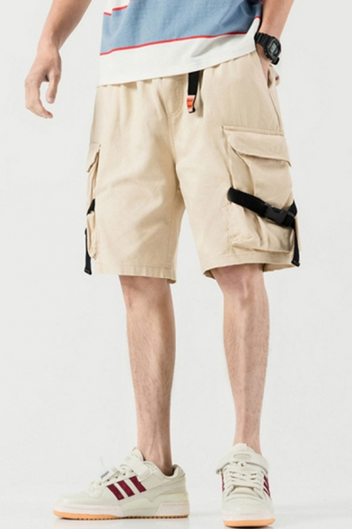 Simple Mens Cargo Shorts Plain Flap Pocket Buckle Mid Rise Loose Fitted Cargo Shorts