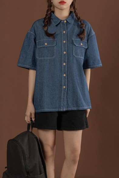 Stylish Womens Short Sleeve Spread Collar Button up Flap Pockets Loose Fit Denim Jacket in Blue