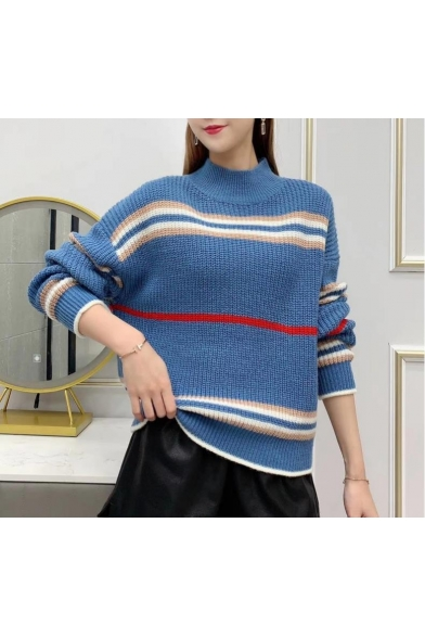 Trendy Geometric Pattern Turtleneck Long Sleeve Cable Knitted Sweater