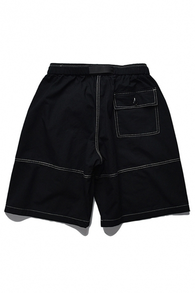 Chic Mens Cargo Shorts Stitch Flap Pocket Buckle Mid Rise Relaxed Fitted Cargo Shorts for Men