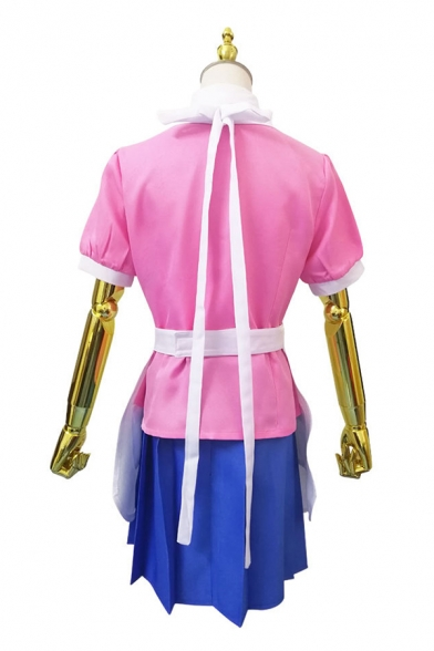 Cool Girls Pink Contrasted Short Sleeve Point Collar Button Up Shirt & Short Pleated Skirt Set with Apron