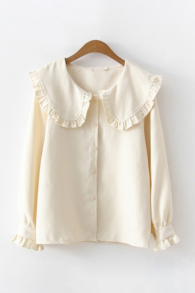 Fancy Ladies Solid Color Long Sleeve Stringy Selvedge Peter Pan Collar Button Up Loose Blouse Top