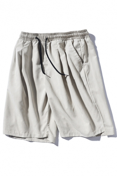 Fashion Mens Relax Shorts Solid Color Drawstring Regular Fit Mid Rise Knee Length Relax Shorts with Pocket