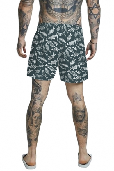 Mens Casual 3D Relax Shorts All over Fish Print Drawstring Mid Waist Mid Thigh Straight Fit Relax Shorts with Pocket