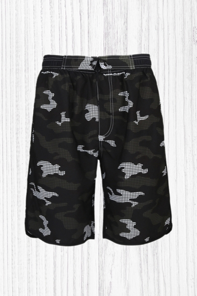 Mens Cool Track Shorts Color Block Camo Pattern Elastic Waist Drawstring Mid Waist Knee Length Regular Fit Track Shorts