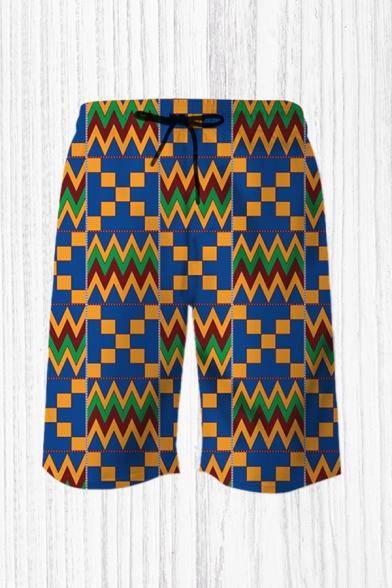 Mens Trendy 3D Relax Shorts Figure Geometric Chevron Waves Pattern Drawstring Mid Waist Knee Length Regular Fit Relax Shorts