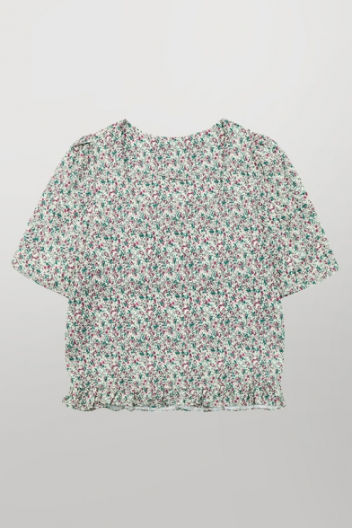 Pretty Ladies Ditsy Flower Printed Short Sleeve Square Neck Stringy Selvedge Loose Crop Shirt Top in Green