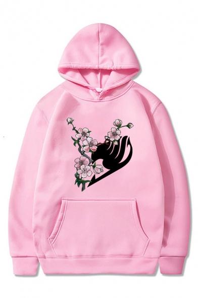 Pretty Womens Flower Printed Long Sleeve Kangaroo Pocket Loose Fit Hoodie