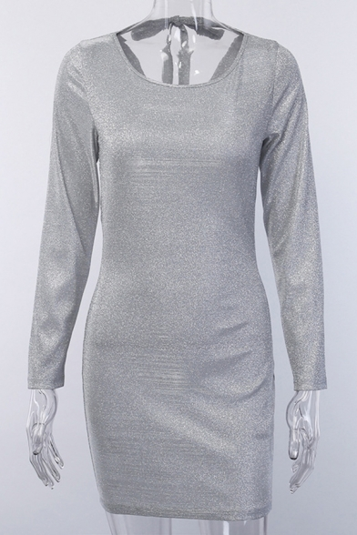 Sexy Glitter Plain Long Sleeve Crew Neck Mini Bodycon Dress for Women