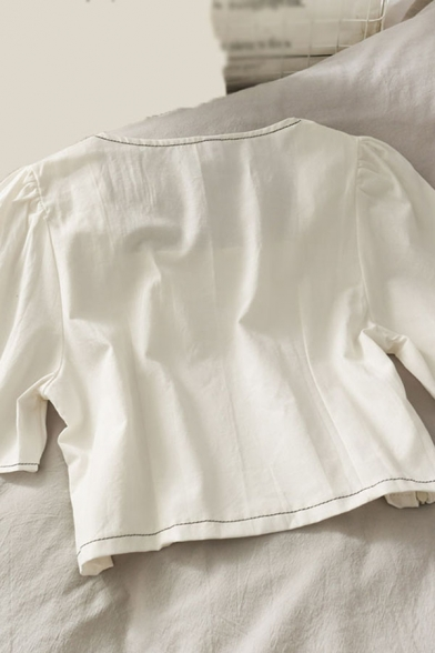 Simple Summer Solid Contrast Piped Fake Flap Pockets Pleated Short Sleeve Square Neck Relaxed Fit Crop Blouse for Girls