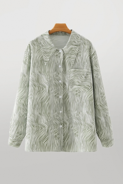 Womens Creative Green Striped Pleated Print Single Breasted Chest Pocket Long Sleeve Point Collar Loose Shirt