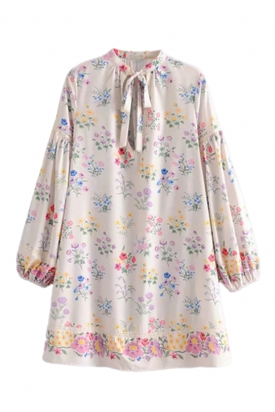 Beige Leisure Ditsy Floral Printed Keyhole Bow Tie Neck Bishop Long Sleeve Mini Swing Dress for Women