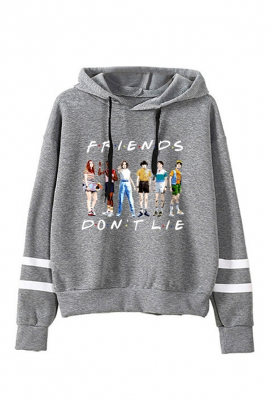 Cartoon Letter Friends Graphic Varsity Striped Long Sleeves Drawstring Loose Fit Fashionable Hoodie in Black