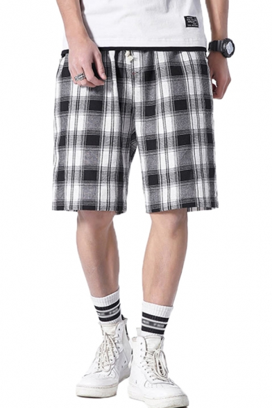 Cozy Mens Shorts Plaid Pattern Pocket Drawstring Mid Rise Relaxed Fitted Shorts