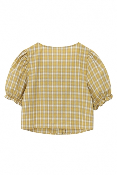 Fancy Womens Checkered Printed Short Sleeve Sweetheart Neck Button-up Regular Fit Crop Blouse Top in Yellow