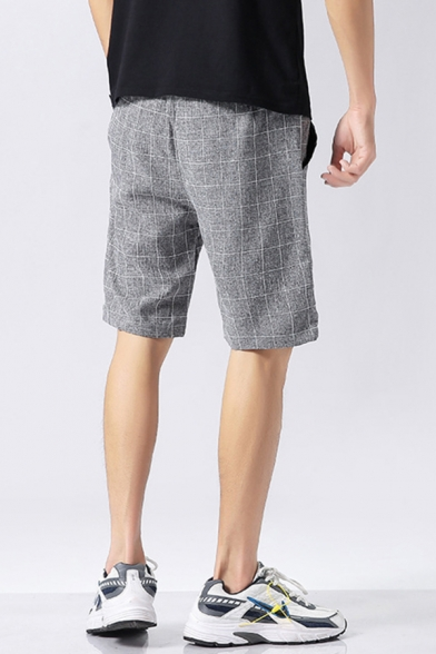 Leisure Mens Shorts Checked Pattern Pocket Drawstring Mid Rise Regular Fitted Shorts