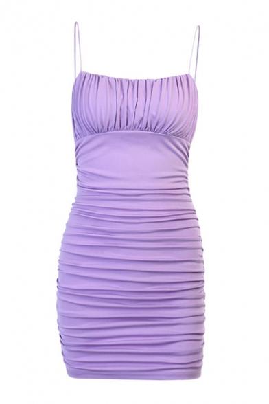 Stylish Solid Color Spaghetti Straps Ruched Mini Sheath Cami Dress in Purple