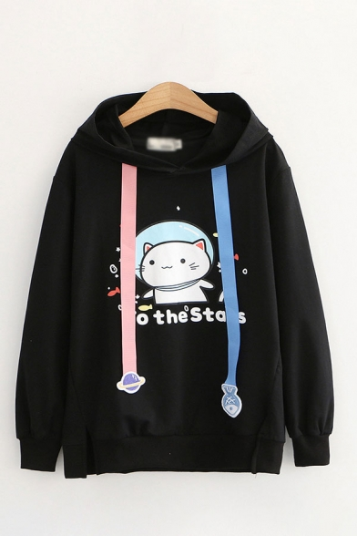 Adorable Letter To The Stars Cat Graphic Fish and Planet Shaped Drawstring Slit Hem Long Sleeve Loose Hoodie