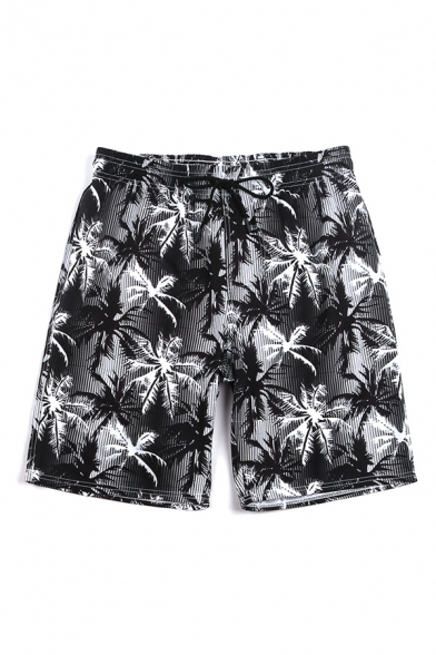 Chic 3D Mens Relax Shorts Plant Leaf Vertical Stripe Pattern Contrast Waistband Drawstring Regular Fitted Mid Rise over the Knee Length Relax Shorts with Pocket