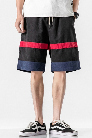 Cool Shorts Colorblock Applique Pocket Drawstring Mid Rise Loose Fitted Shorts for Men