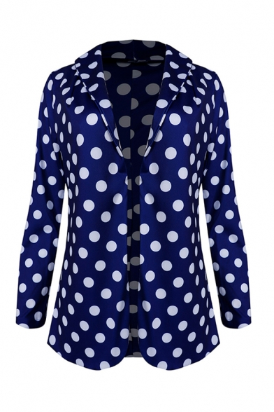 Fashion Polka Dot Printed Long Sleeve Shawl Collar Open Front Regular Fit Blazer