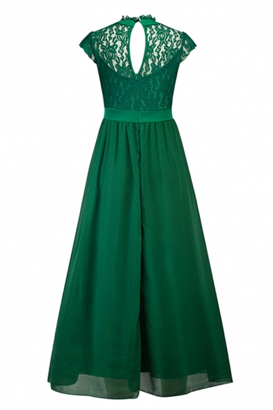 Gorgeous Ladies Solid Color Patched Lace Cut Out Back Pleated Crew Neck Short Sleeve Long Swing Gown