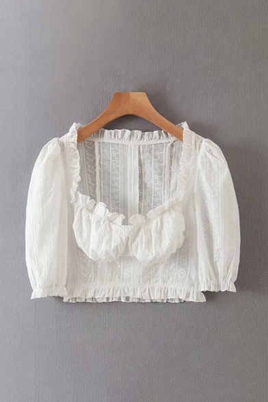 Lovely Girls White Puff Sleeve Sweetheart Neck Stringy Selvedge Fit Crop Blouse Top