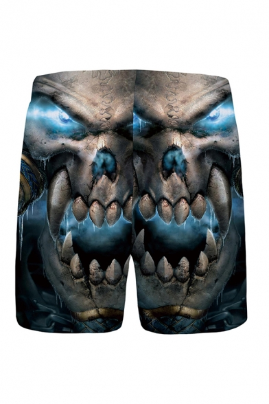 Mens Trendy 3D Relax Shorts Skull Pattern Drawstring Mid Waist over the Knee Straight Fit Relax Shorts with Pocket