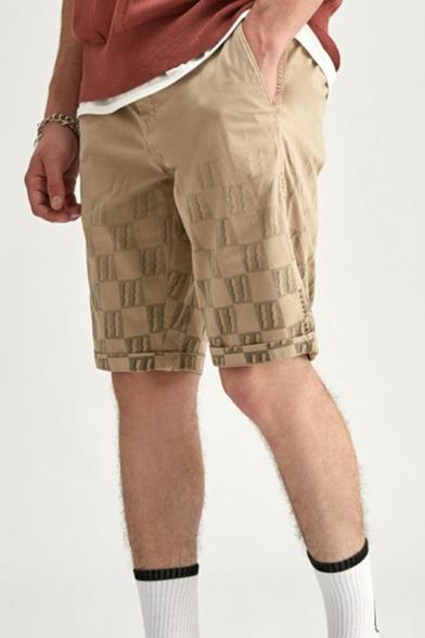 Novelty Mens Chinos Shorts Plaid Lightning Pattern Knee-Length Regular Fitted Zipper Fly Chinos Shorts