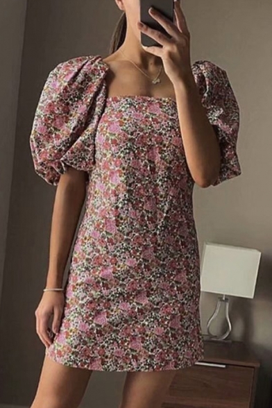 Popular Womens All Over Floral Printed Puff Sleeve Square Neck Short A-line Dress in Red