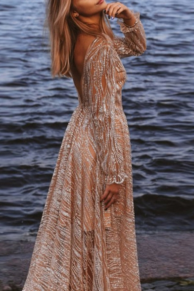 Womens Boutique See-through Metallic Long Sleeve Deep V-neck Open Back Maxi Flowy Dress in Silver