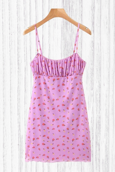 Chic Ditsy Floral Printed Spaghetti Straps Ruched Short A-line Cami Dress in Purple
