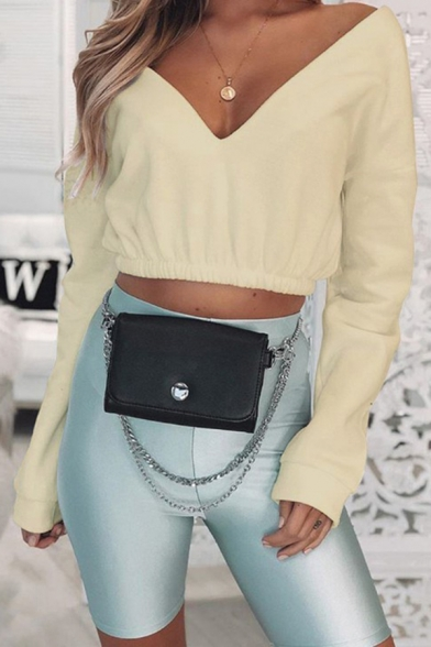 Chic Girls Solid Color Long Sleeve V-neck Elastic Hem Relaxed Fit Crop Pullover Sweatshirt