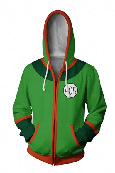 Mens Popular Contrasted Long Sleeve Drawstring Zipper Front Loose Hoodie in Green