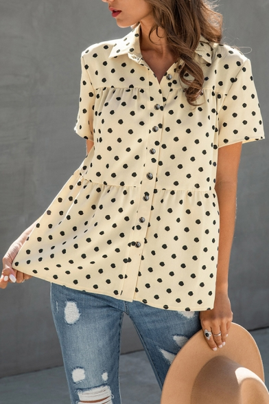 Preppy Look Polka Dot Print Pleated Button Up Turn Down Collar Short Sleeve Relaxed Fit Tunic Smock Shirt for Girls