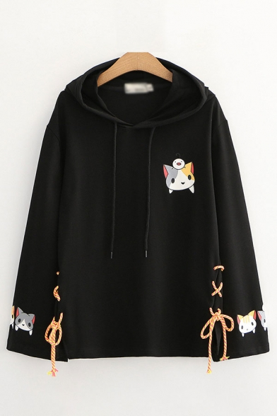 Preppy Looks Cat Printed Lace-up Long Sleeve Drawstring Relaxed Fit Hoodie