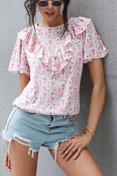 Pretty Womens Ditsy Flower Printed Short Sleeve Crew Neck Ruffled Regular Fit Shirt in Pink